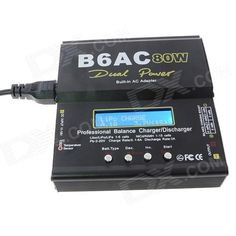 Lipo B6AC 80W Battery Balance Charger Adapter for RC Helicopter - Black (EU Plug / 100~240V). Brand Lipo Model B6AC 80W Quantity 1 piece(s) per pack Color Black Material Iron Compatible Model RC helicopter Input Voltage 11.0~18.0V Plug Type EU Plug Other Feature Dual power built-in AC adapter; Optimized operating software; Internal independent lithium battery balancer; Balancing individual cells battery discharging; Adaptable to various type of lithium battery; Fast and storage mode of…