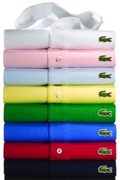 """The original Chemise Lacoste. Start with navy, then black, light blue, red. White for the courts. Long or short sleeve. Get the ones marked """"Made in France."""" The cloth and weave are softer. Wear them outside of pants; that's why they're called """"chemise."""""""
