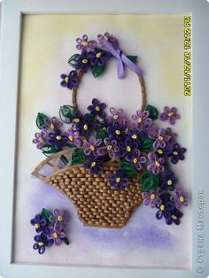 The painting mural drawing Paper Quilling Violets Photo 1 The painting Wall Drawing Paper Quilling Violets Photo 1 Neli Quilling, Paper Quilling Cards, Paper Quilling Flowers, Paper Quilling Patterns, Quilled Paper Art, Quilling Paper Craft, Paper Crafting, Quilled Roses, Quilling Comb