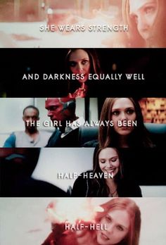 She wears strength and darkness equally well. The girl has always been half-heaven, half-hell. + I feel like 'I Am The Fire' by Halestorm is her theme song. Wanda Marvel, Marvel Women, Marvel Dc Comics, Marvel Avengers, Ms Marvel, Captain Marvel, Punisher Marvel, Avengers Memes, Dc Movies