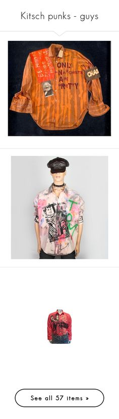 """Kitsch punks - guys"" by sagenoir ❤ liked on Polyvore featuring DIVERSO ITALIANO, Cheap Monday, TK GARMENT SUPPLY, house of field, pat field, patricia field, scooter laforge, tops, red top and shirt top"