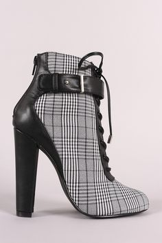 12e045adec7 Shoe Republic LA Glen Plaid Lace Up Chunky Heeled Ankle Boots