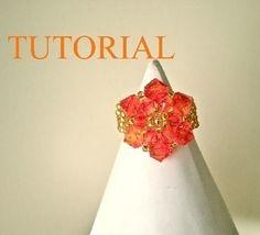 TUTORIAL - Inel cu rozeta din cristale Swarovski - realizat de Kezimade, by beadboutique, 45 Lei