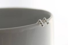 Silver Dotted Bar Stud Drop Earrings Sterling Silver Bar