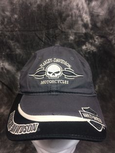 feeccd1202326 Harley Davidson Cap Unisex Adult One Size Black Gray Motorcycle Excellent  Cotton