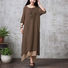 Brown Long Sleeve Maxi Linen Dress