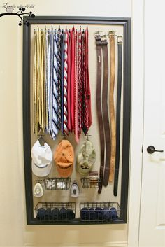 Closet Organizer for Him, made out of fabric-covered pegboard.  This could be useful in just about any room!my husband needs this!he throws his belts everywhere!