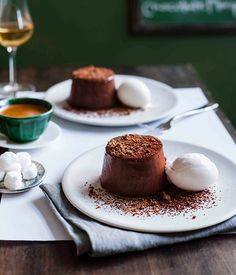 Australian Gourmet Traveller recipe for chocolate marquise with lime and coconut sorbet by Public restaurant in Brisbane.