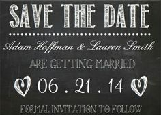 Chalkboard #save_the_date wedding invitations. Cute and classy!