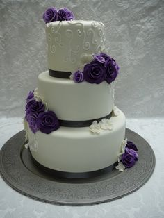 Purple Black White Wedding cake.