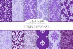 Purple Damask Digital Paper by AvenieDigital on Creative Market