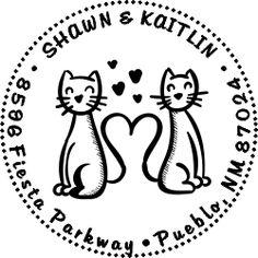 Kaitlin Cat Round Address Stamp