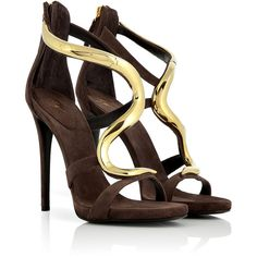 GIUSEPPE ZANOTTI Cacao Suede Sandals With Sculptural Gold-Toned Metal