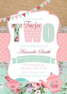 Tea For Two Invitation Tea Party Invitation 2nd Birthday by GrayCatGraphics | Etsy