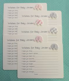 Pink and Gray Elephant Baby Shower Wishes Cards  by AzureHaven, $10.00