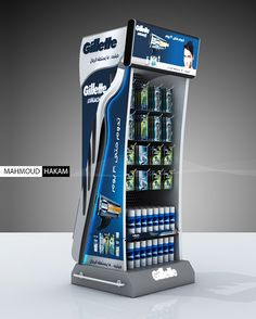 Gillette Stand on Behance Point Of Sale, Point Of Purchase, Promotional Stands, Displays, Pop Display, Safety Razor, Contract Furniture, Custom Design, Behance