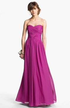 Great option for bridesmaids! JS Boutique Strapless Ruched Chiffon Gown | Nordstrom #radiant #orchid #inspirations