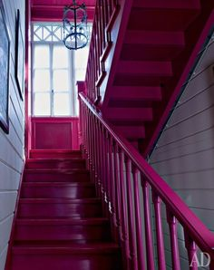Pink staircase in a house in Krasnogorsk Painted Staircases, Painted Stairs, Spiral Staircases, Interior Stairs, Interior And Exterior, Interior Architecture, Color Magenta, Stairs And Doors, Stair Storage