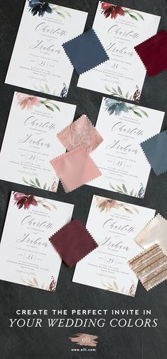Find gorgeous wedding invitations and customize them in your wedding colors for free at Elli.com.
