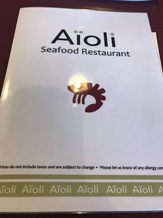 Menu cover, Aioli Seafood Restaurant, 103-192 W Island Highway, Parksville, BC