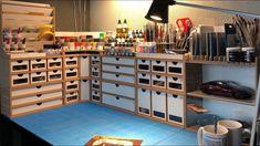 HobbyZone: My New Workbench Setup Hobby Desk, Hobby Room, Pc Setup, Desk Setup, Workbench Organization, Model Cars Building, Craft Station, Model Maker, Work Desk