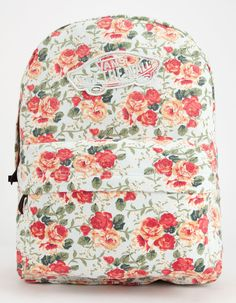 Vans Realm Backpack Off White One Size For Women 25967616401 from Tilly's. Saved to Things I want as gifts. Vans Backpack, Floral Backpack, Backpack Bags, Rucksack Bag, Messenger Bags, Backpacks For Teens School, Backpack For Teens, School Bags, School Ideas