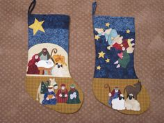 "Nativity quilted stockings, love the use of Nancy Halvorsen's ""Joy to the World "" pattern Christmas Nativity, Christmas Fabric, Christmas Stuff, Christmas Stockings, Christmas Ideas, Christmas Gifts, Christmas Ornaments, Stocking Ideas, Holy Family"