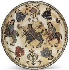 Seljuk Horsemen on a Mina'i Pottery Bowl Kashan, c1200