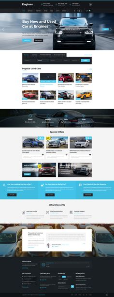 Engines - Automotive, Motor Cars, Vehicle Dealership PSD Template • Download ➝…