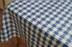 Blue Hill, Classic Blue Tavern Check, Flannel Backed, Vinyl Tablecloth;