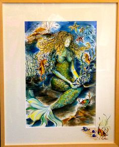 Mermaid and Friends Watercolor on Paper by C. Stephenson-Gibbs