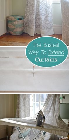 For curtains that are too short, this is the simplest (and best!) solution. Definitely don't want short curtains to leave a room looking sloppy or unfinished.  Extend them like this: http://www.ehow.com/info_8008405_ways-extend-curtains.html?utm_source=pinterest.com&utm_medium=referral&utm_content=freestyle&utm_campaign=fanpage