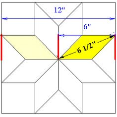 Chart for making star quilts at different sizes (calculates size of finished star and also has details about common quilt dimensions, etc.) Lemoyne Star without those dreaded Y Seams Barn Quilt Designs, Barn Quilt Patterns, Quilting Designs, Quilting Tips, Canvas Patterns, Star Quilt Blocks, Star Quilts, Lone Star Quilt Pattern, Sunflower Quilts