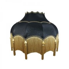 Striking Scalloped Lampshade in Black with fringe and tassel detail. These ornate period shades are all handmade in England. Their quality is flawless and these shades have featured in a number of tel Black Gold Bedroom, Vintage Lampshades, Exotic Homes, Victorian Lamps, Standard Lamps, Standard Lamp Shades, Bedroom Lamps, Lamp Design, Design Table