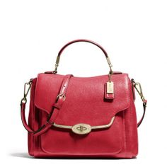 The Madison Small Sadie Flap Satchel In Leather from Coach. So cute! Love the color!