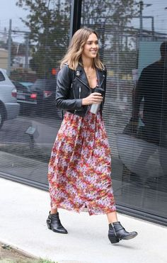 Floral Maxi, Ankle Boots And Leather Biker Jacket - How To Wear A Maxi Dress In Autumn