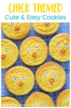 Cute and easy chick themed cookie recipe - fun spring baking project for kids Basic Cookie Recipe, Basic Cookies, Cookie Recipes, Easter Snacks, Easter Recipes, Easter Food, Yellow Food Coloring, Baking With Kids, Easter Cookies