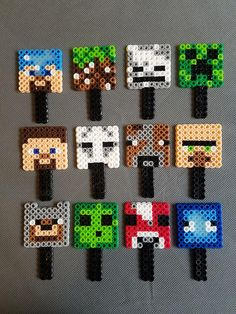 Minecraft Cupcake Toppers, Minecraft Birthday Cake, Minecraft Party, Minecraft Room, Minecraft Furniture, Minecraft Perler, Hama Beads Minecraft, Diy Perler Beads, Minecraft Blocks