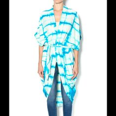 FREE PEOPLE SILK TIE DYE KAFTAN FREE PEOPLE KAFTAN. 100% SILK. TIE DYE TURQUOISE COMBO. Cocoon shape, with optional belt. Has a beautiful nubby pulled texture to it. No trades no holds. Free People Sweaters