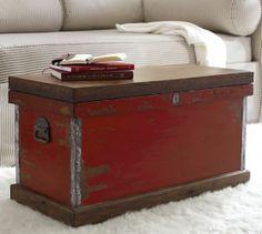 Josefa Distressed Trunk | Pottery Barn Cool idea for Grandmother's trunk