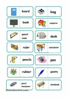 school domino worksheet - Free ESL printable worksheets made by teachers Learning English For Kids, English Worksheets For Kids, English Lessons For Kids, English Games, Kids English, English Activities, English Language Learning, English Words, Teaching English