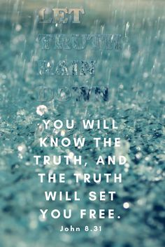 """Let Truth Rain Down: """"You will know the truth, and the truth will set you free. Faith Scripture, Jesus Bible, Bible Verses, Greatest Commandment, Prayer Changes Things, Encouraging Thoughts, Prayer Closet, John 8, Christian Sayings"""