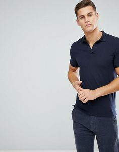 ASOS Muscle Fit Jersey Polo In Navy - Navy