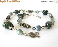 ON SALE OOAK moss agate silver coiled wire bead necklace, silver coiled wire bead necklace, green moss agate silver bead necklace