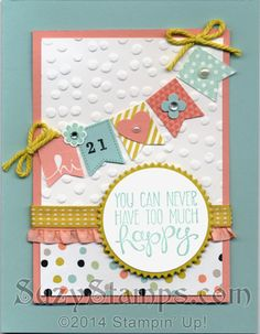 Stampin' Up! Cards - 2014-03 Class - Sale-A-Bration Sweet Sorbet Designer Series Paper, Banner Blast and Yipee-Skippee! stamp sets, Banner Punch, Starburst Framelits Dies, Decorative Dots Embossing Folder