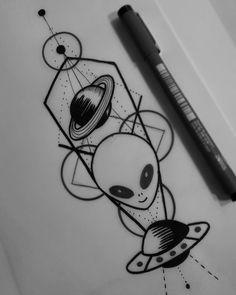 Alien Drawings, Space Drawings, Cool Art Drawings, Art Drawings Sketches, Tattoo Sketches, Tattoo Drawings, Alien Tattoo, Kritzelei Tattoo, Doodle Tattoo