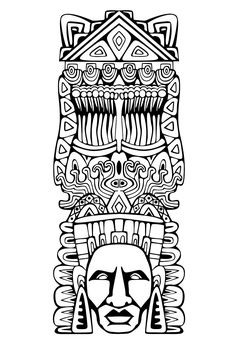 Totem inspiration inca maya azteque 1 - Coloriages Mayas, Aztèques et Incas - Just Color Pattern Coloring Pages, Printable Adult Coloring Pages, Free Coloring Pages, Coloring Books, Arte Tribal, Aztec Art, Mayan Mask, Motifs Aztèques, Mexican Art Tattoos