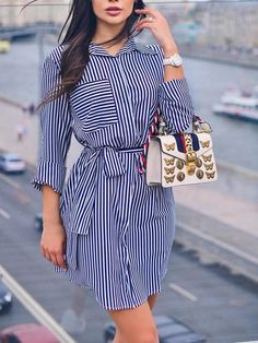 Shop Beading Mesh Splicing Pleated Maxi dress right now, get great deals at makeyouchic Mini Shirt Dress, Belted Shirt Dress, Striped Dress, Hijab Fashion, Fashion Dresses, Style Fashion, Indie Fashion, Classic Fashion, Fashion Clothes