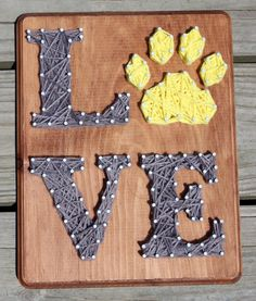 Dog Paw LOVE Nail and String Wall Art Decor by EclecticGreetings