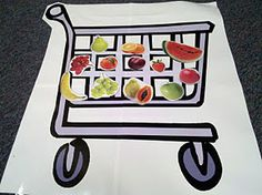 Fill Up the Shopping Cart- it would be fun to do this with a five frame or ten frame drawn inside the basket.